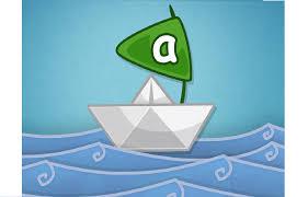 Papirskib med sejl med bogstav A