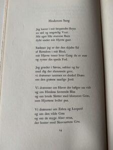 """Første side af digtet: """"Moderens sang"""" af Johannes V. Jensen"""